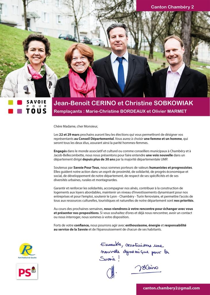 Lettre de candidature de Jean-Benoît Cerino et Christine Sobkowiak aux élections départementales des 22 et 29 mars 2015 / Canton de Chambéry 2
