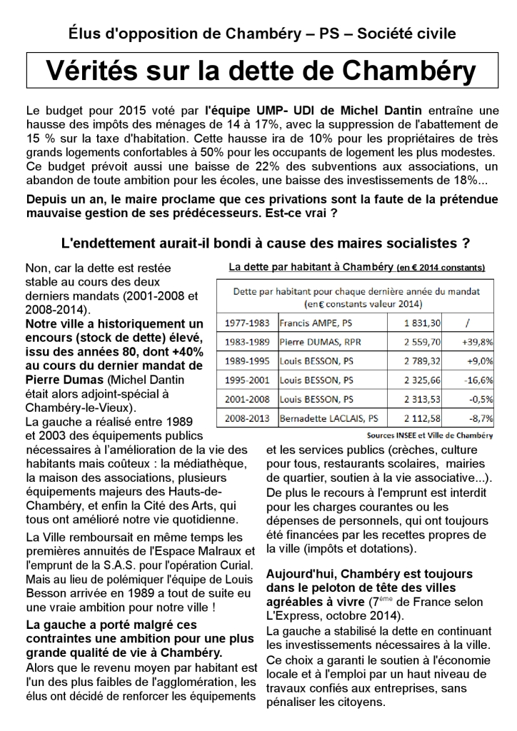 Tract Chambéry dette 1