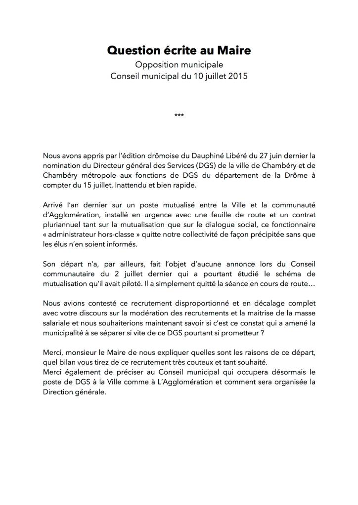 Question écrite au Maire 10-07-2015