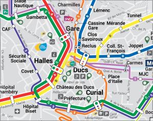 Carte du futur réseau de bus STAC du centre-ville, août 2016