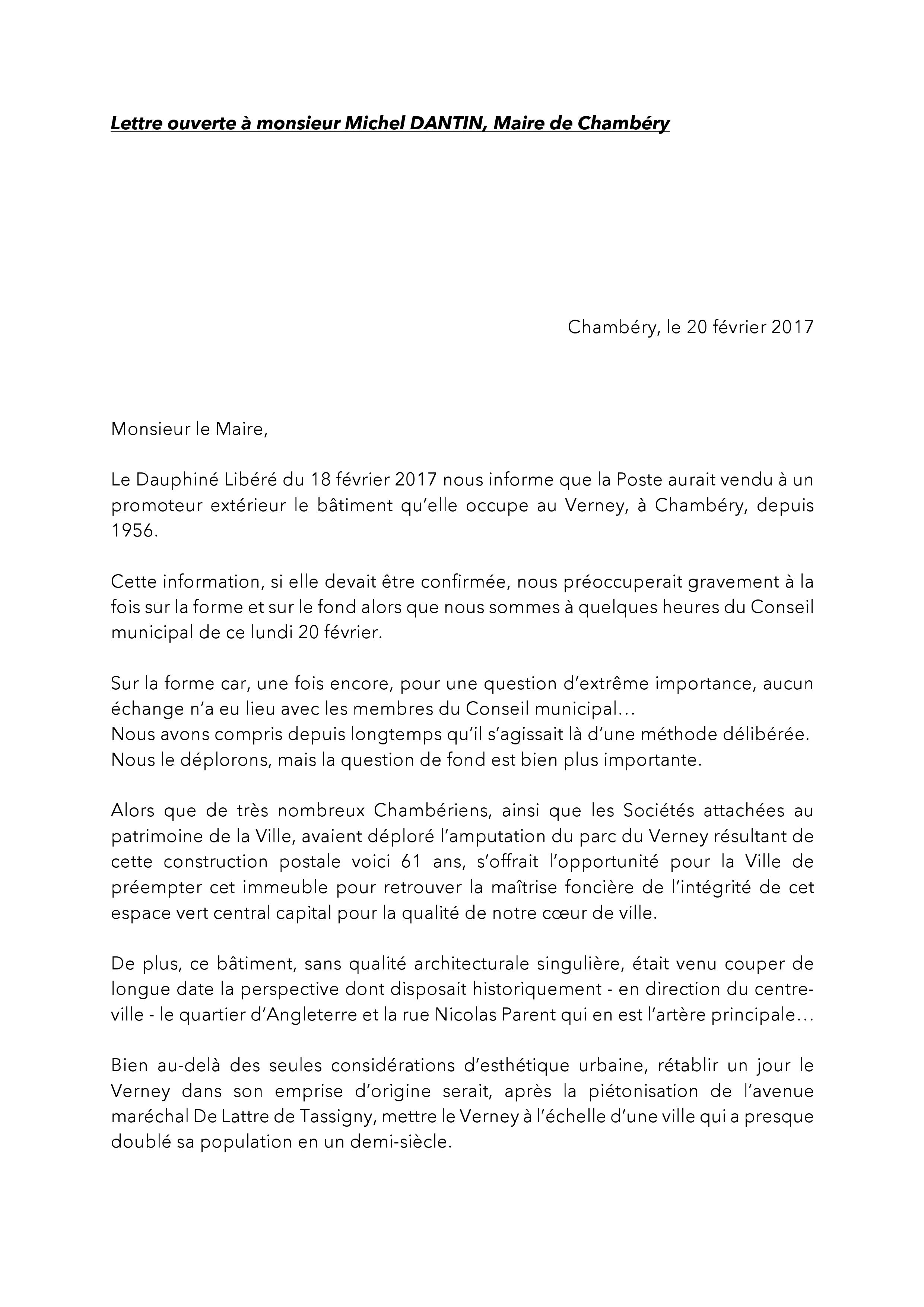 sujet de lettre ouverte